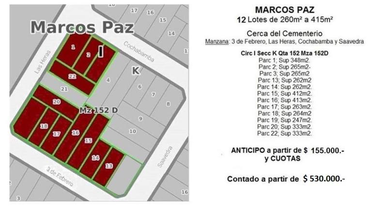 Venta de Lote De 300 a 500 mts. en Marcos Paz Marcos Paz